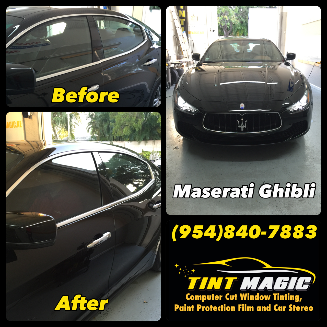 Maserati Ghibli at Tint Magic Window Tinting Coral Springs