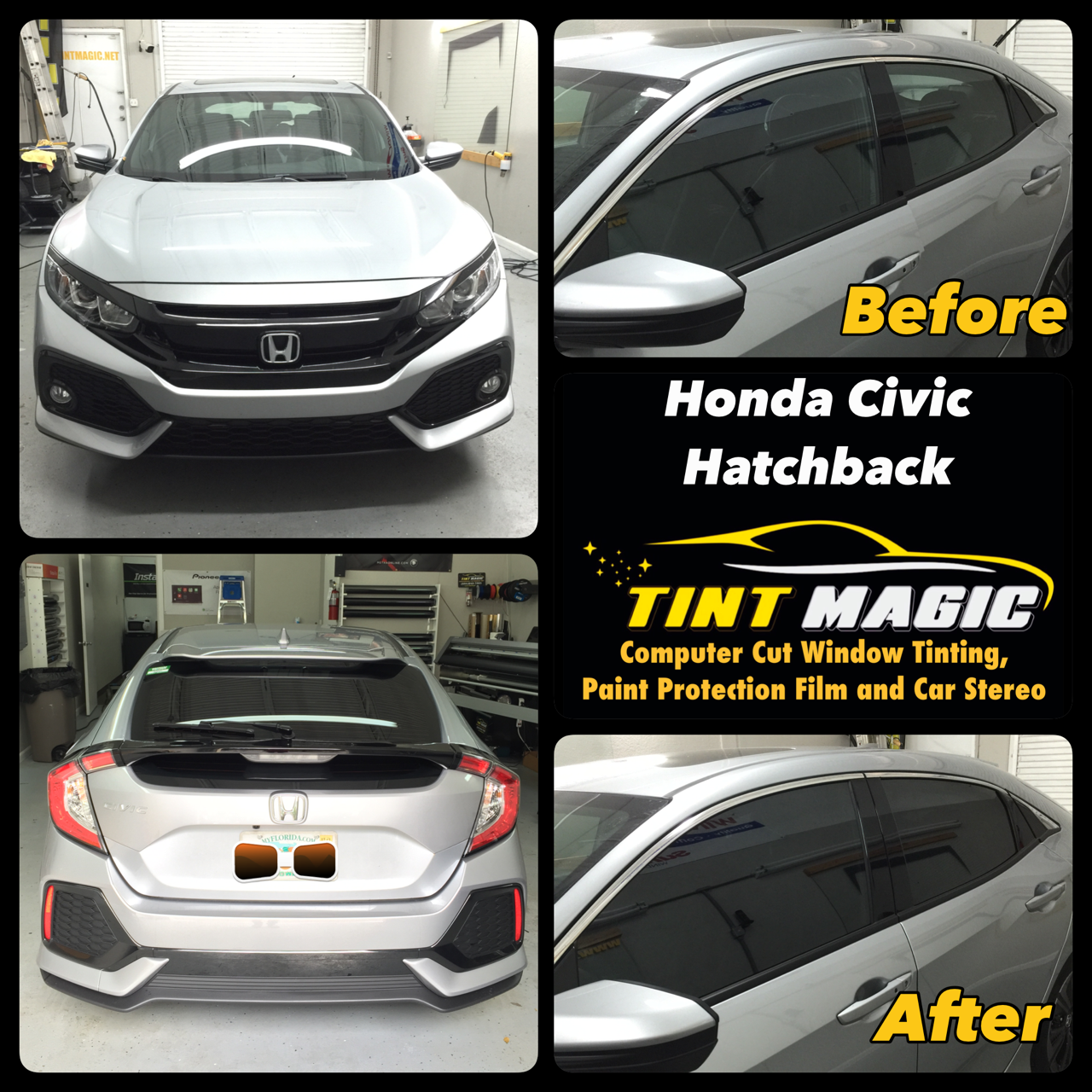 Honda Civic Hatchback at Tint Magic Window Tinti Coral Springs